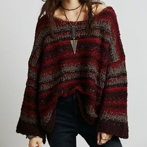 Free People Chunky Slouchy Knit Pullover Sweater
